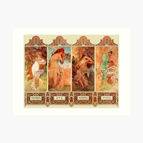 Alphonse Mucha Four Seasons Art Nouveau Art Print