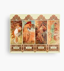 Alphonse Mucha Four Seasons Art Nouveau Metal Print