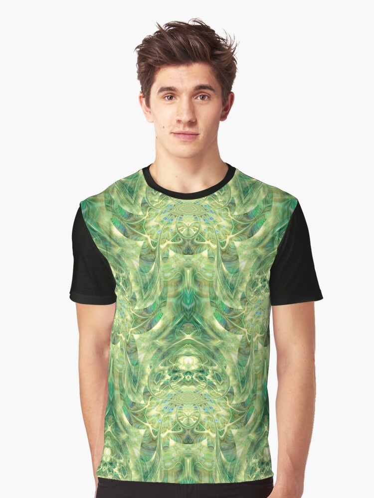Green Dreams - psychedelic geometric  Graphic T-Shirt Front