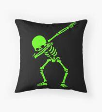 Dabbing Skeleton Green Throw Pillow