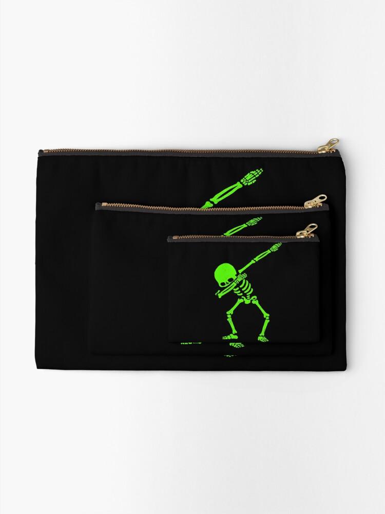 Alternative Ansicht von Skeleton Grün abtupfen Täschchen