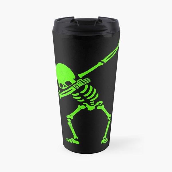 Dabbing Skeleton Green Travel Mug