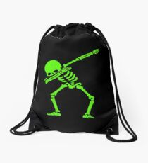 Dabbing Skeleton Green Drawstring Bag