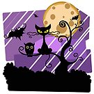 Cat and Owl Halloween Night by Sylia