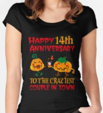 14th Wedding Anniversary T-Shirt For Couples On Halloween. Women's Fitted Scoop T-Shirt