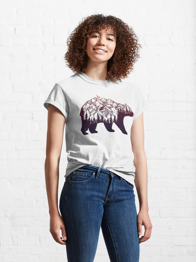 Alternate view of Bear with Mountains Landscape, Moon and Stars Classic T-Shirt