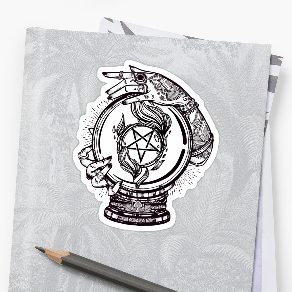 Psychic Reader with Crystal Ball and the Sigil of Baphomet by MagneticMama