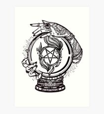 Psychic Reader with Crystal Ball and the Sigil of Baphomet Art Print