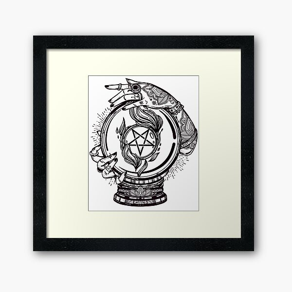 Psychic Reader with Crystal Ball and the Sigil of Baphomet Framed Art Print