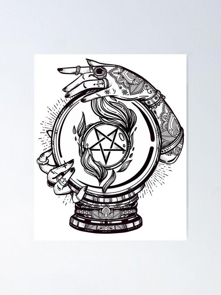 Alternate view of Psychic Reader with Crystal Ball and the Sigil of Baphomet Poster
