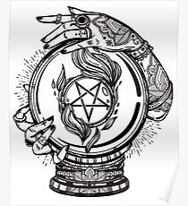 Psychic Reader with Crystal Ball and the Sigil of Baphomet Poster