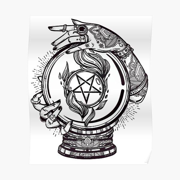Psychic Reader mit Kristallkugel und dem Siegel von Baphomet Poster