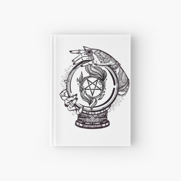 Psychic Reader with Crystal Ball and the Sigil of Baphomet Hardcover Journal