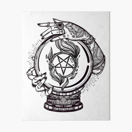 Psychic Reader with Crystal Ball and the Sigil of Baphomet Art Board Print