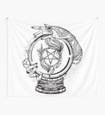 Psychic Reader with Crystal Ball and the Sigil of Baphomet Wall Tapestry