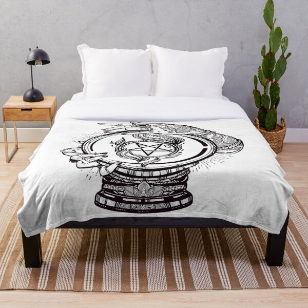 Psychic Reader with Crystal Ball and the Sigil of Baphomet Throw Blanket
