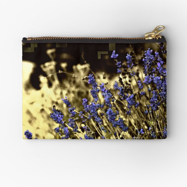 Lavender in a yellow field Zipper Pouch