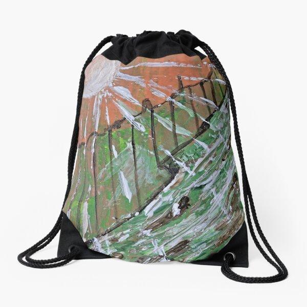 Peachy Day Abstract Drawstring Bag