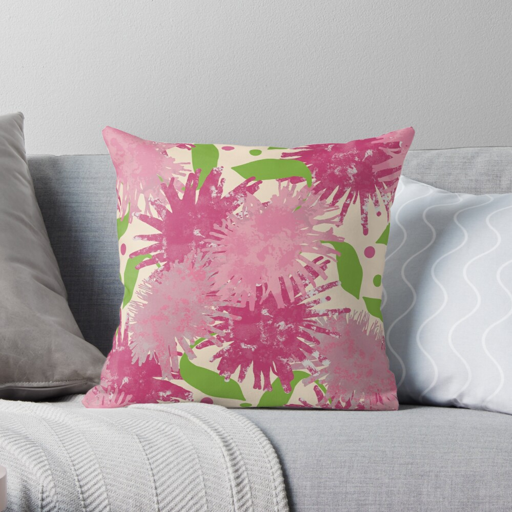 Abstract Pink Puffs Flowers Throw Pillow