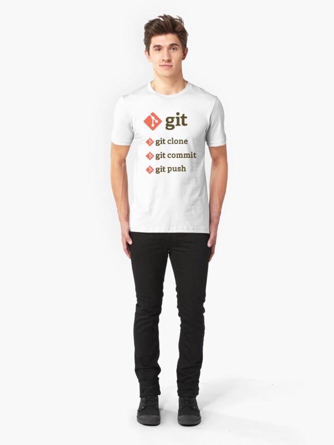 Vista alternativa de Camiseta ajustada git commands sticker set