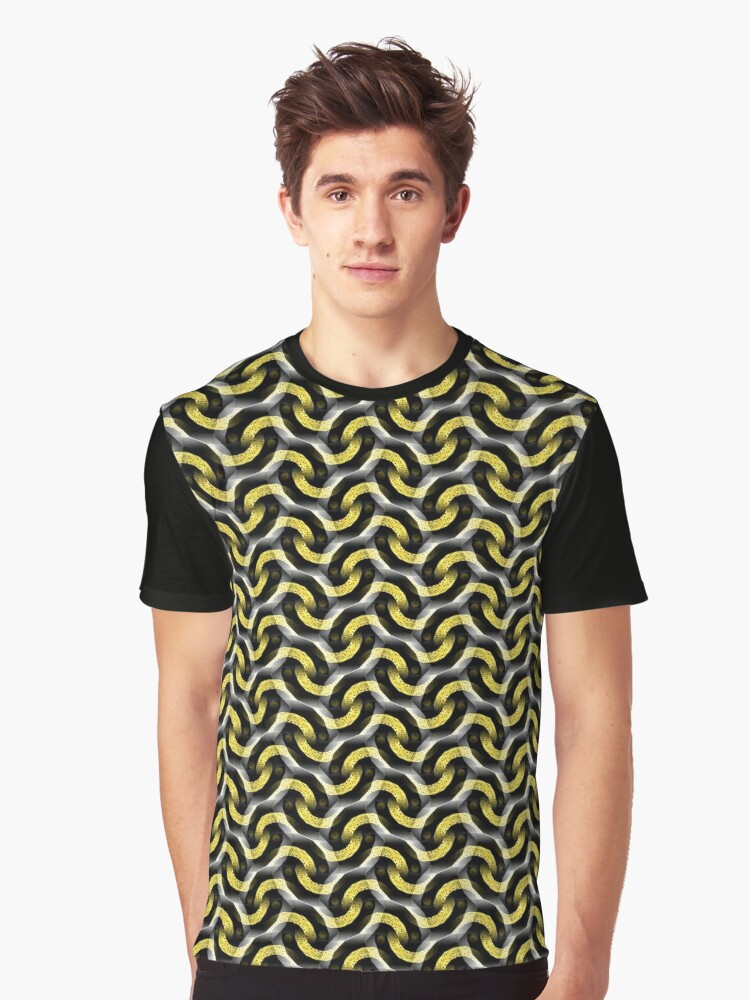Gold Chain Optical Pattern Graphic T-Shirt Front
