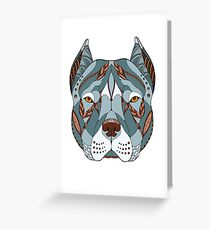 Tribal Pit Bull Terrier Zentangle Stylized Illustration Greeting Card