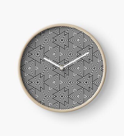 Black White Triangle Stripes Clock