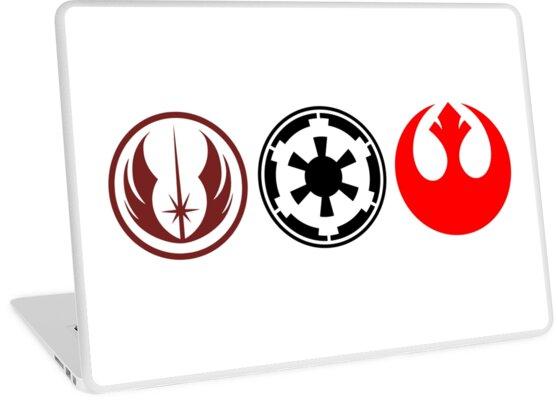 Star Wars Rebel Jedi And Empire Symbols Laptop Skins By