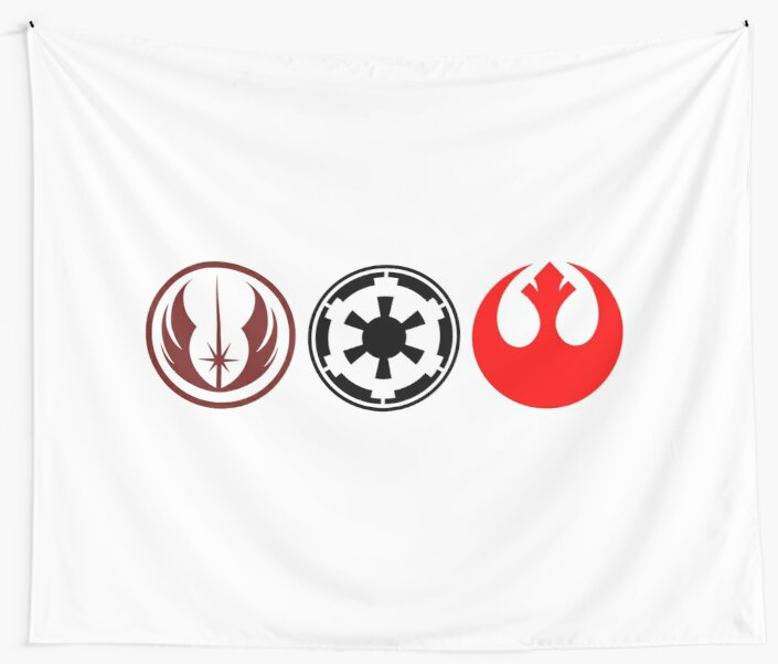Star Wars Rebel Jedi And Empire Symbols Wall Tapestries By