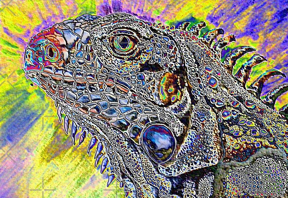 phsycadelic iguana by dnlddean