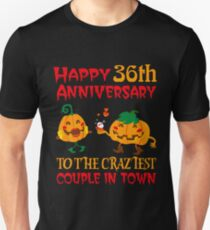 36th Wedding Anniversary T-Shirt For Couples On Halloween. Unisex T-Shirt