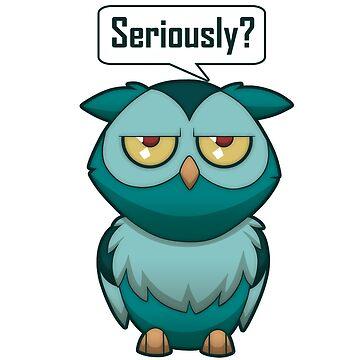 Annoyed Owl [Teal] by plaguewolfen