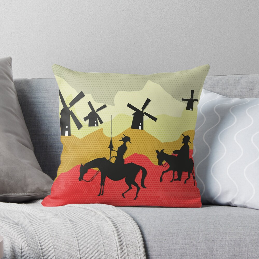 Tilting at windmills, Don Quixote Throw Pillow