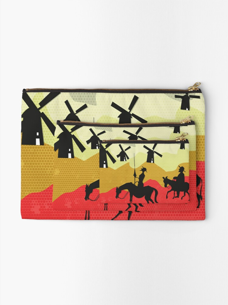 Alternate view of Tilting at windmills, Don Quixote Zipper Pouch