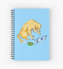 Golden Retriever on Laptop Spiral Notebook