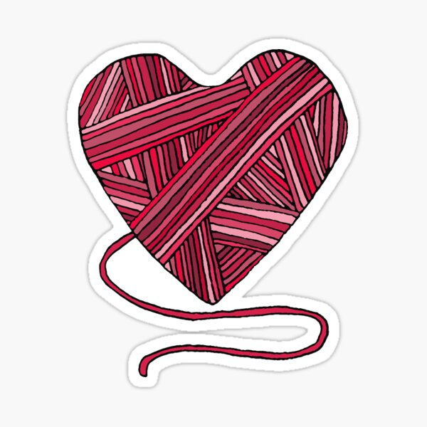 Pink Yarn Heart Sticker