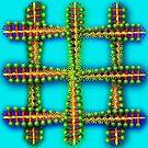 DNA Design with Aqua Background by Ann Morgan