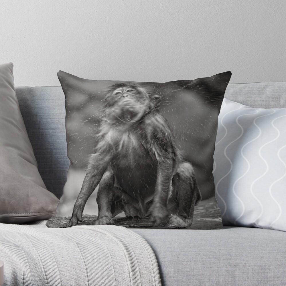 Snow Monkey Shake Down Throw Pillow