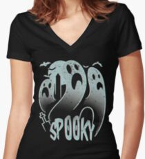 Spooky Halloween Women's Fitted V-Neck T-Shirt