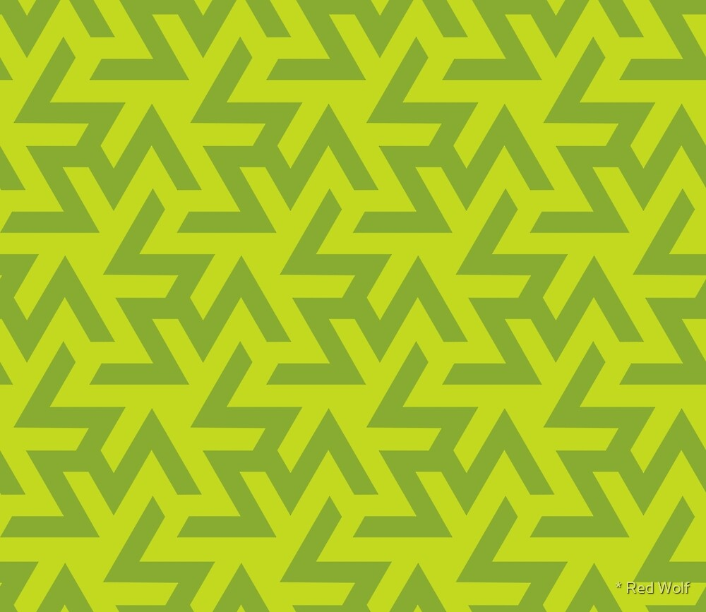 Geometric Pattern: Triskelion: Green by * Red Wolf