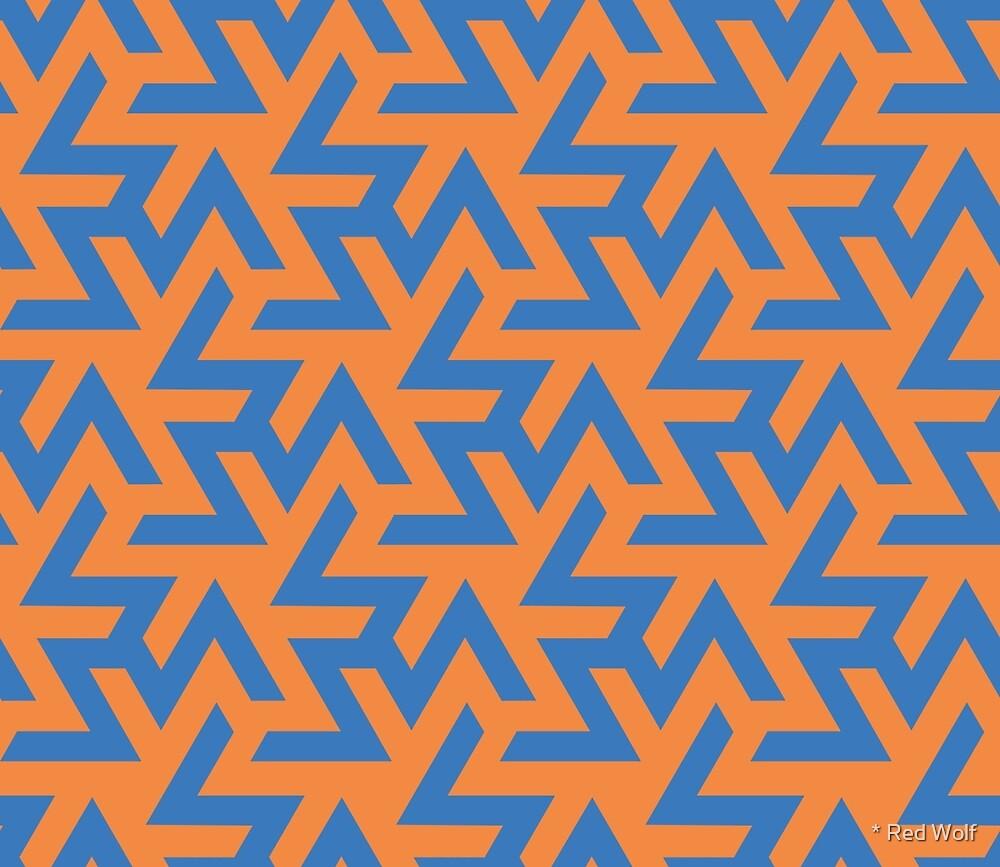 Geometric Pattern: Triskelion: Blue/Orange by * Red Wolf