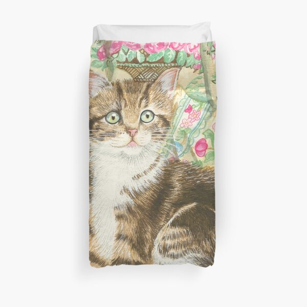 Cat with Cushions Duvet Cover