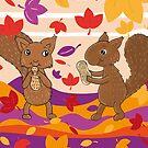 Eichhörnchen im bunten Herbst von WACHtraum