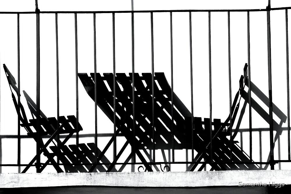 Stripes and Shadows - Balcony Furniture Verona Italy by Samantha Higgs