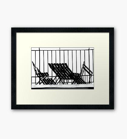 Stripes and Shadows - Balcony Furniture Verona Italy Framed Print