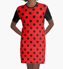 Red and Black polka dots | Ladybug Pattern | Halloween Outfit Graphic T-Shirt Dress