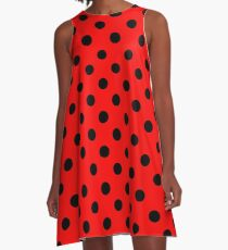 Red and Black polka dots | Ladybug Pattern | Halloween Outfit A-Line Dress