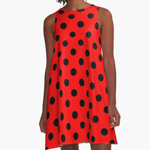 Red and Black polka dots   Ladybug Pattern   Halloween Outfit A-Line Dress