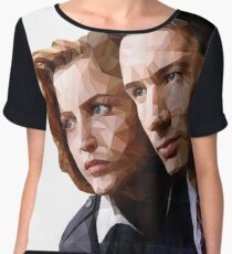 Low Poly X-Files Mulder and Scully Women's Chiffon Top