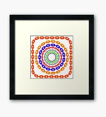 Set of Circle Colorful Chain Frames Isolated on White Background Framed Print